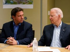 President Joe Biden, right, and Florida Governor Ron DeSantis, left, gave a news briefing (Susan Walsh/AP)