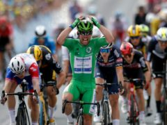 Mark Cavendish celebrated a second win of this year's Tour de France with victory in Chateauroux (Stephane Mahe/AP)