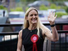 Labour candidate Kim Leadbeater celebrates in Huddersfield (Danny Lawson/PA)