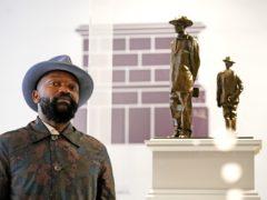Samson Kambalu with his plinth design Antelope (Victoria Jones/PA)