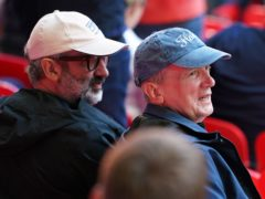 David Baddiel and Frank Skinner in the stands during the Euro 2020 semi-final at Wembley Stadium (Mike Egerton/PA)