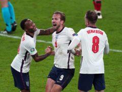 Raheem Sterling, Harry Kane and Jordan Henderson after England's victory over Denmark (Mike Egerton/PA)