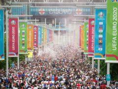 England fans along Wembley Way ahead of the UEFA Euro 2020 final (Zac Goodwin/PA)