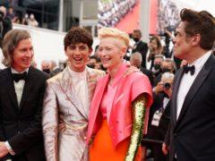 Wes Anderson, Timothee Chalamet, Tilda Swinton, and Benicio Del Toro (Brynn Anderson/AP)