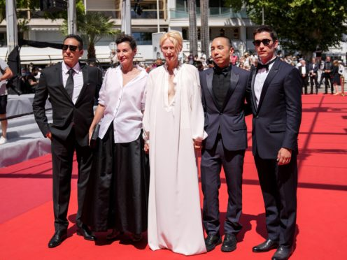 Tilda Swinton returned to the Cannes red carpet for another premiere of one of her films (AP Photo/Vadim Ghirda)