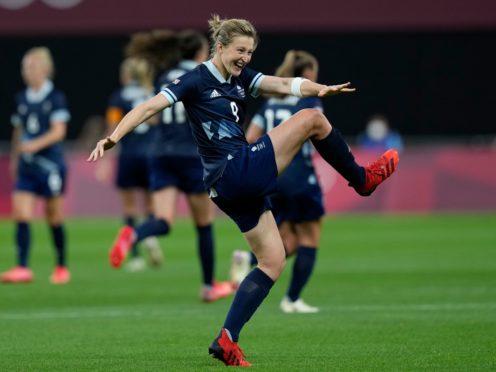 Ellen White celebrates scoring Great Britain's second goal against Chile (Silvia Izquierdo/AP)