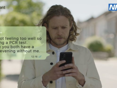 A still from a new official information campaign which urges people in England to continue wearing face coverings (HM Government/PA)