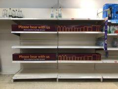 Empty shelves at a Sainsbury's store in Blackheath (Matthew Cooper/PA)