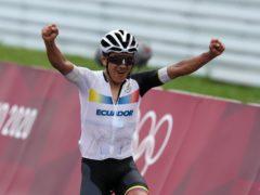 Ecuador's Richard Carapaz wins Gold in the Men's Road Race (Martin Rickett/PA)