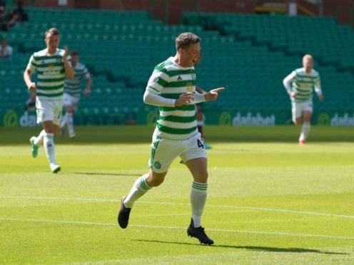 Celtic's Callum McGregor (centre) scores against West Ham (Jane Barlow/PA)