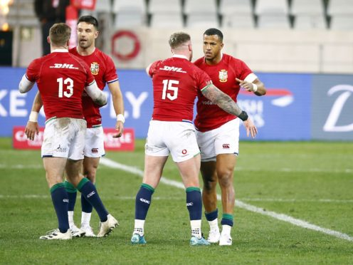 The British and Irish Lions celebrate winning the opening match of the series (Steve Haag/PA).