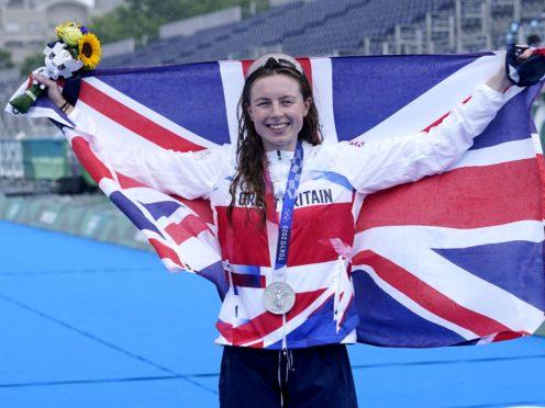 Great Britain's Georgia Taylor-Brown celebrates winning silver (Danny Lawson/PA)