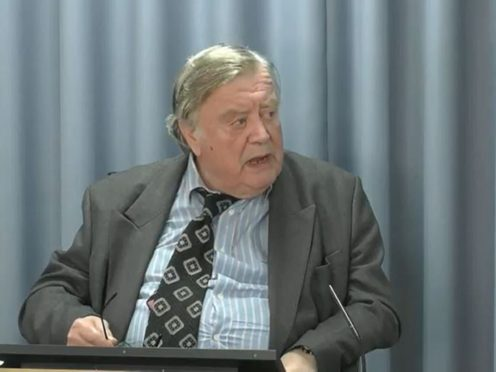 Lord Ken Clarke, who held the position of health minister from 1982 to 1985, giving evidence at the Infected Blood Inquiry (Infected Blood Inquiry/PA)