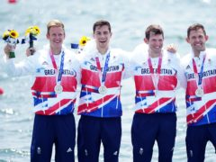 Harry Leask, Angus Groom, Tom Barras and Jack Beaumont collect their medals (Mike Egerton/PA)