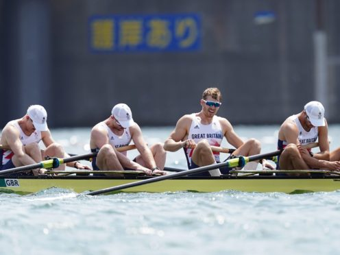 Great Britain's Oliver Cook, Matthew Rossiter, Rory Gibbs and Sholto Carnegie react to their fourth-placed finish (Mike Egerton/PA)