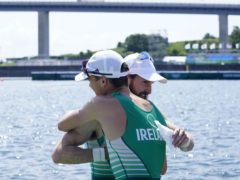 Ireland's Paul O'Donovan and Fintan McCarthy celebrate victory in the lightweight double sculls at Tokyo 2020 (Danny Lawson/PA)