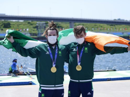 Ireland's Paul O'Donovan and Fintan McCarthy with their gold medals after winning the lightweight double sculls (Danny Lawson/PA)