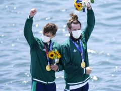 Ireland's Fintan McCarthy and Paul O'Donovan on the podium in Tokyo (Danny Lawson/PA)
