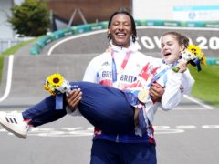 Great Britain's Bethany Shriever and Kye Whyte celebrate their gold and silver medals in the BMX Cycling at the Ariake Urban Sports Park (Danny Lawson/PA Images).