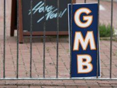 A GMB union sign (Steve Parsons/PA)