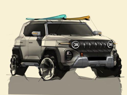The new vehicle showcases a boxy, angular design