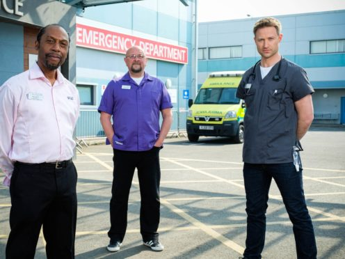 Tony Marshall as Noel, Charles Dale as Big Mac and Richard Winsor as Cal in Casualty (BBC)PHOTO BY ALISTAIR HEAP
