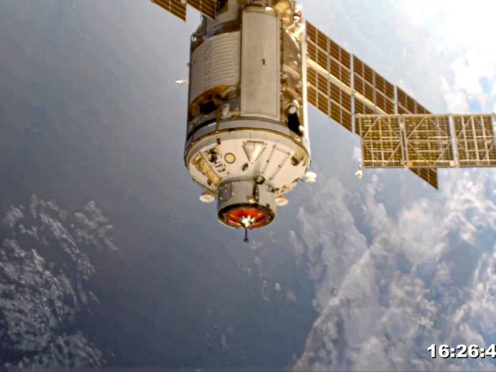 The Nauka module is seen prior to docking with the International Space Station (Roscosmos Space Agency Press Service photo via AP)