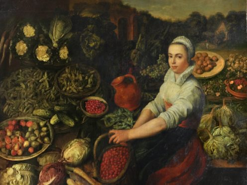The painting known as The Vegetable Seller, before treatment by English Heritage conservators (English Heritage/PA)