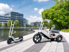 Both the scooter and bicycle have been designed for use in the city