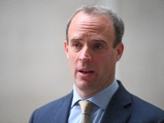 Foreign Secretary Dominic Raab speaks to the media outside BBC Broadcasting House in central London after his appearance on the BBC1 current affairs programme, The Andrew Marr Show.