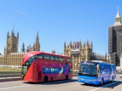 The Carbon Battle Bus at Westminster Bridge, London, on the Zero Carbon Tour in June (PA).