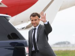 French president Emmanuel Macron arrives at Cornwall Airport Newquay ahead of the G7 summit (Stefan Rousseau/PA)