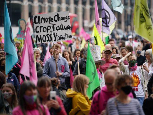 Extinction Rebellion demonstrators in Parliament Square, London in June (PA)