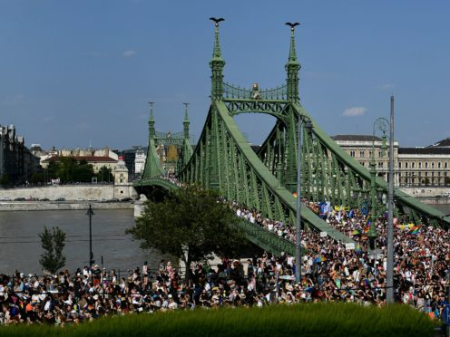 A gay pride parade in Budapest, Hungary (Anna Szilagyi/AP)