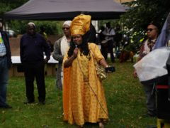 Esther Stanford-Xosei speaks at the Emancipation Day gathering at Max Roach Park in Brixton (Steve Parsons/PA)