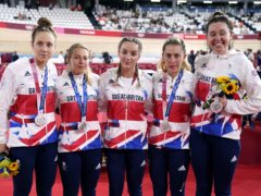 Katie Archibald, Laura Kenny, Neah Evans, Josie Knight and Elinor Barker show off their silver medals (Danny Lawson/PA)