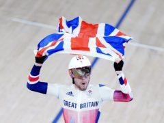 Great Britain's Matthew Walls celebrates winning omnium gold (Danny Lawson/PA)
