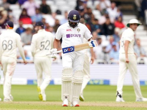 Rohit Sharma was caught just before lunch (Tim Goode/PA)