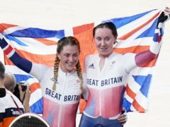 Great Britain's Laura Kenny, left, and Katie Archibald celebrate winning gold in the women's Madison final (Danny Lawson/PA)