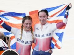 Great Britain's Laura Kenny (left) and Katie Archibald celebrate winning gold in the women's Madison (Danny Lawson/PA Images).