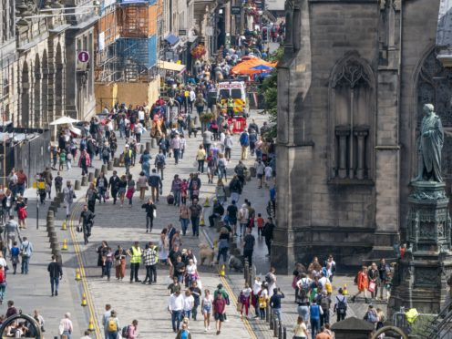 Edinburgh's Royal Mile on the first day of the Edinburgh International Festival (Jane Barlow/PA)