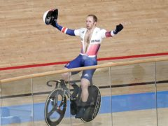 Great Britain's Jason Kenny celebrates after winning gold in the Men's Keirin Finals 1-6 at the Izu Velodrome (Danny Lawson/PA)