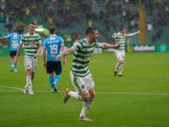 Celtic's Anthony Ralston celebrates his second goal of the season (Jane Barlow/PA)