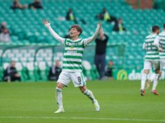 Celtic's Kyogo Furuhashi netted a home-debut hat-trick (Jane Barlow/PA)