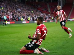 Sheffield United's Rhian Brewster celebrates (Zac Goodwin/PA)