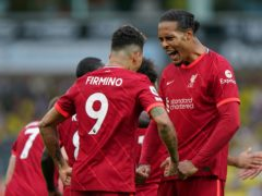 Virgil Van Dijk celebrates with Roberto Firmino during Liverpool's 3-0 win over Norwich (Joe Giddens/PA)