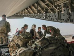 British citizens and dual nationals board a RAF flight out of Kabul (LPhot Ben Shread/MoD/PA)
