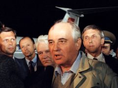 Soviet President Mikhail Gorbachev speaks to a Soviet TV newsman at Vnukovo airport outside Moscow, shortly after arriving from the Crimea after a three day coup by Communist hardliners failed, in Russia (AP)