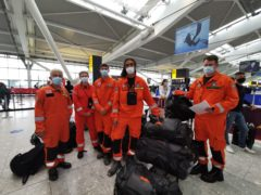 Former firefighters, paramedics and engineers from charity Search and Rescue Assistance in Disaster on their way to Haiti (SARAID/PA)