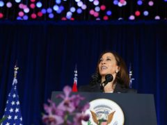 US Vice President Kamala Harris delivers a speech at Gardens by the Bay in Singapore (Evelyn Hockstein/Pool Photo via AP)